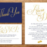 Printable Navy Blue And Gold Wedding Invitation/wedding With Wedding Card Size Template