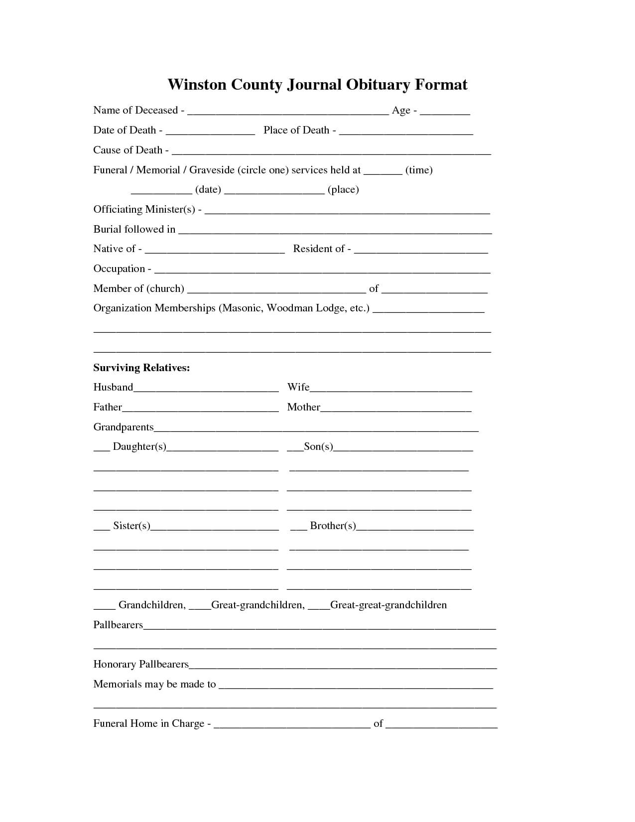 Printable Obituary Template | Fill In The Blank Obituary Throughout Fill In The Blank Obituary Template