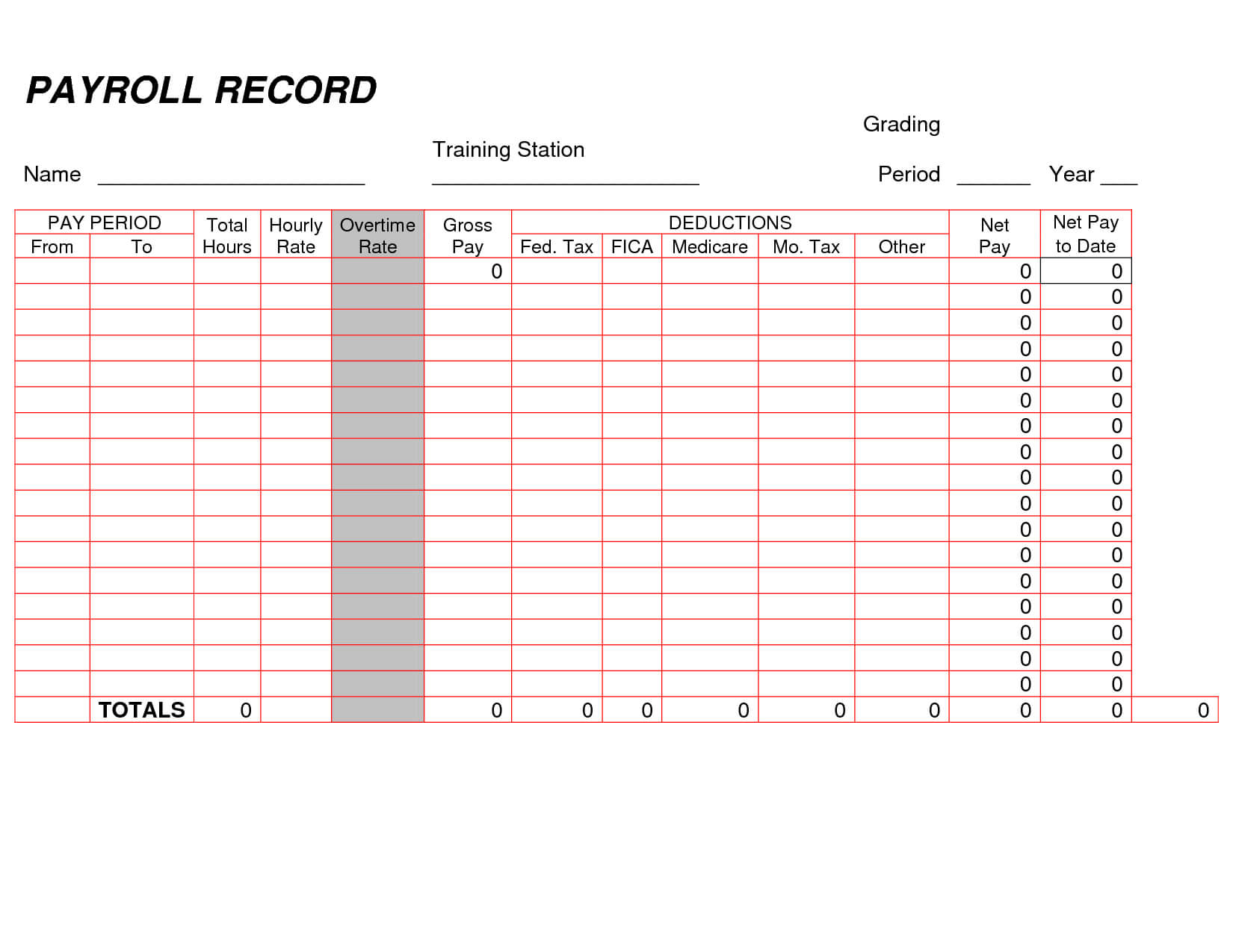 Printable Payroll Ledger | Blank Payroll Record – Pdf | Work With Regard To Blank Ledger Template