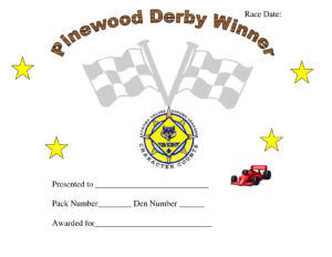 Printable Pinewood Derby Awards | Pinewood Derby Car Award in Pinewood Derby Certificate Template