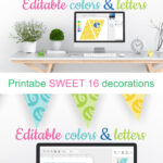 Printable Sweet 16 Decorations – Editable Banner – Customize Within Sweet 16 Banner Template