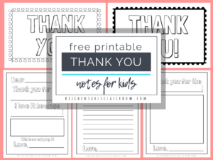 Printable Thank You Cards For Kids – The Kitchen Table Classroom inside Free Printable Thank You Card Template
