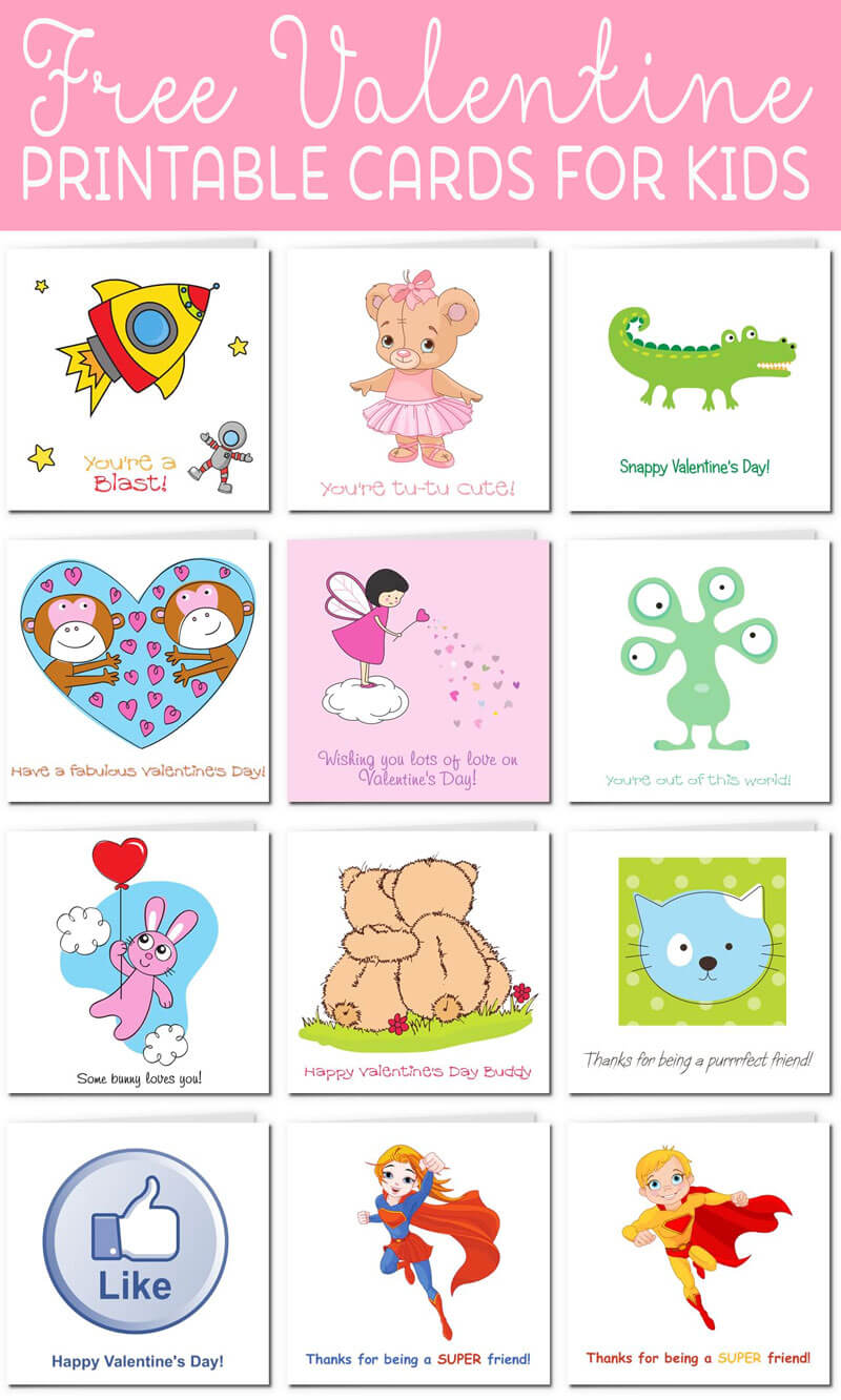 Printable Valentine Cards For Kids In Valentine Card Template For Kids