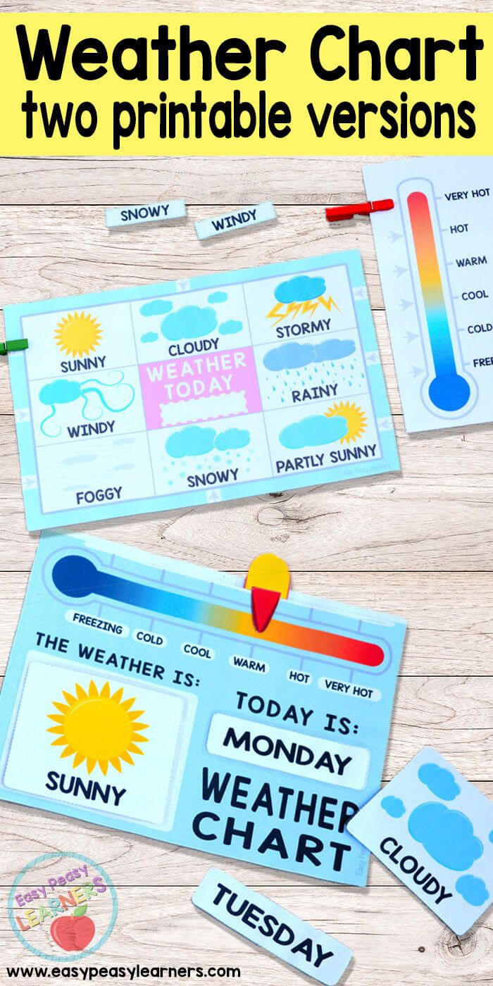 Printable Weather Charts - Perfect For Having The Kids Mark Intended For Kids Weather Report Template