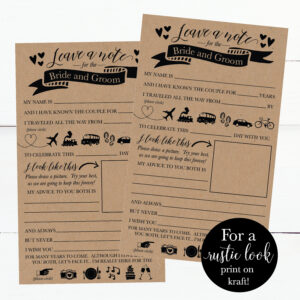 Printable Wedding Advice Cards Rustic, Advice For The Bride And Groom,  Funny Advice For The Newlyweds Wedding Words Of Wisdom Cards Template In Marriage Advice Cards Templates