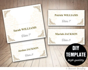 Printable Wedding Placecard Template 3.5X2 Foldover, Diy within Fold Over Place Card Template
