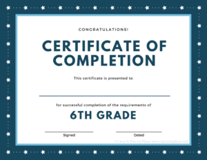 Printed Certificates with 5Th Grade Graduation Certificate Template