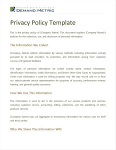 Privacy Policy Template For Small Business – Paudurapedyja regarding Credit Card Privacy Policy Template
