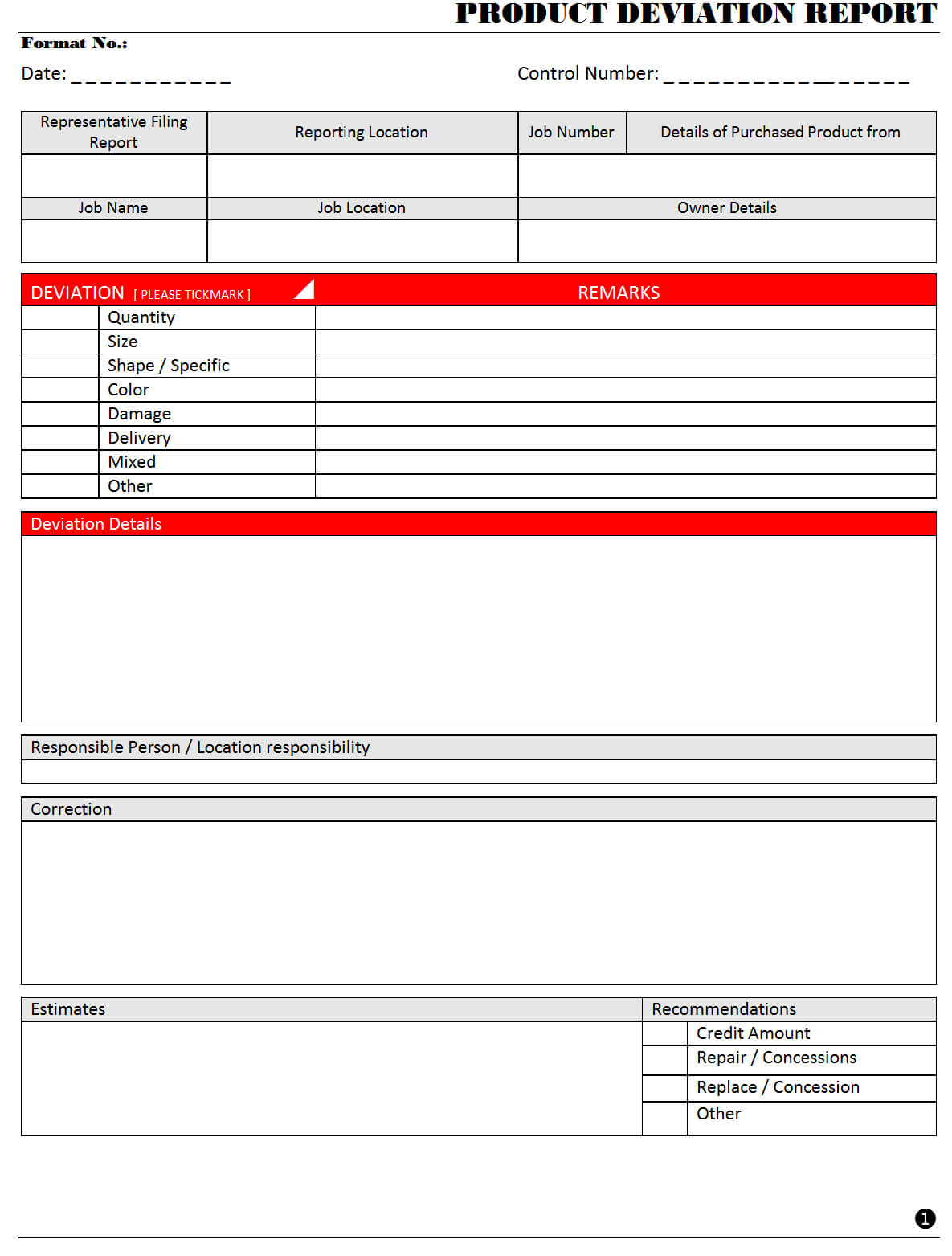 Product Deviation Report - Throughout Deviation Report Template