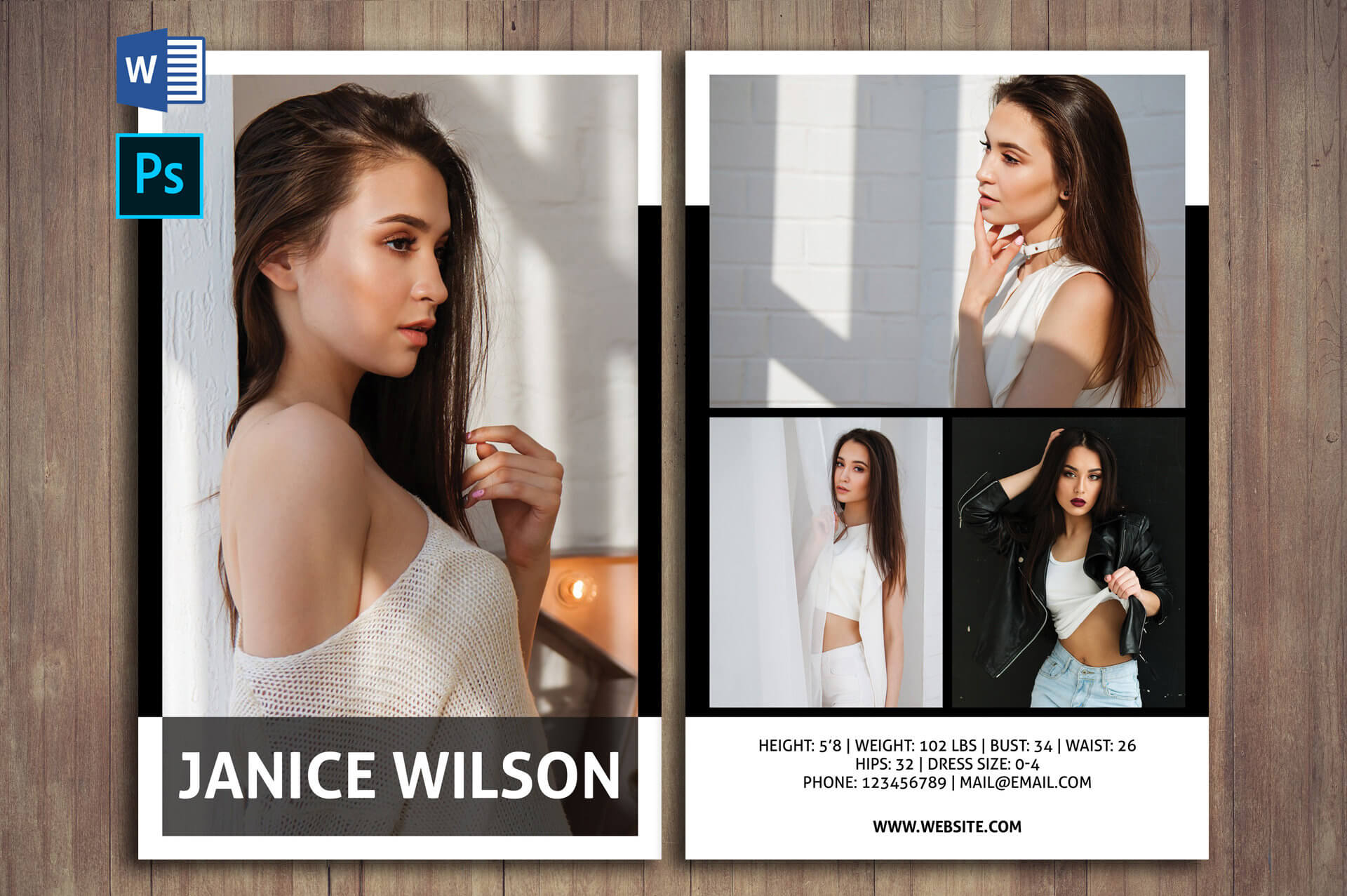 Professional Comp Card Psd Template Modeling Comp Card | Etsy Inside Comp Card Template Download