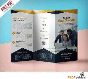 Professional Corporate Tri-Fold Brochure Free Psd Template intended for 3 Fold Brochure Template Free Download