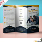 Professional Corporate Tri-Fold Brochure Free Psd Template intended for Brochure Psd Template 3 Fold