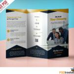 Professional Corporate Tri-Fold Brochure Free Psd Template regarding Brochure 3 Fold Template Psd