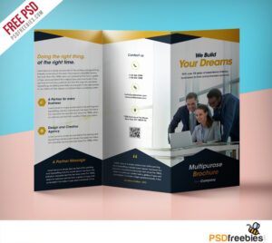 Professional Corporate Tri-Fold Brochure Free Psd Template throughout Three Panel Brochure Template