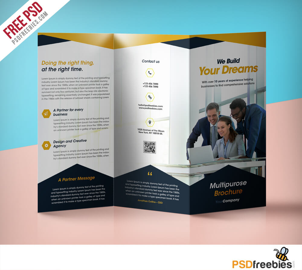 Professional Corporate Tri Fold Brochure Free Psd Template Within Free Tri Fold Business Brochure Templates