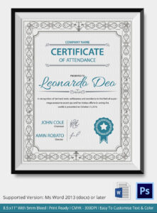 Professional Editable Certificate Of Attendance Template pertaining to Perfect Attendance Certificate Free Template