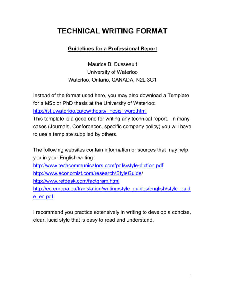 Professional Report Writing Format – School Of Engineering Intended For Report Writing Template Download