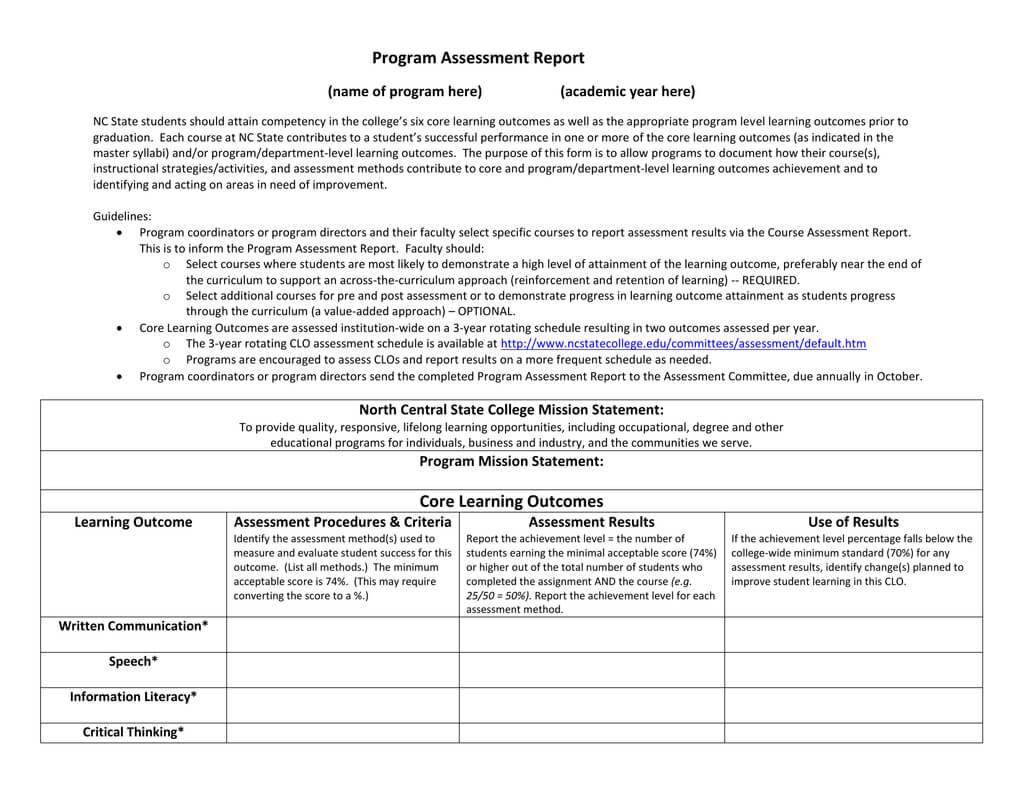 Program Assessment Report Template In Data Quality Assessment Report Template
