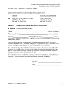 Project Completion Template Company Letter Format For New inside Certificate Of Completion Template Construction