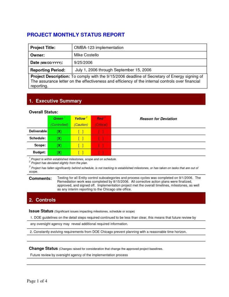 Project Daily Status Report Template Excel And Create Weekly In Project Implementation Report Template