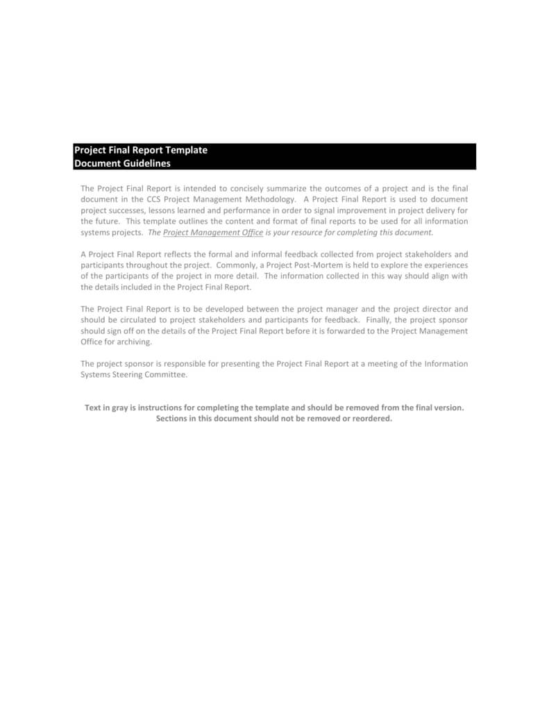 Project Final Report Template With Regard To Project Management Final Report Template