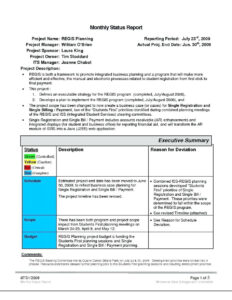 Project Management. Project Management Report Template within Funding Report Template