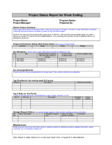 Project Management Report Template Audit Example Weekly with Project Management Final Report Template