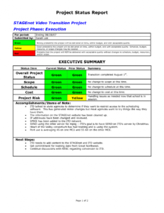 Project Management Status Report Template Excel Best for Best Report Format Template