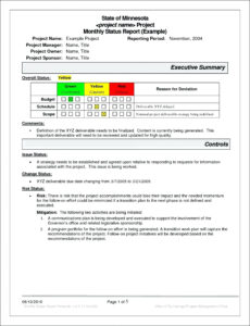 Project Management Status Report Template Progress Free | Smorad intended for Monthly Status Report Template Project Management