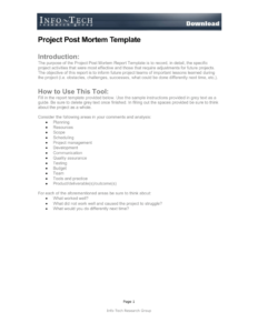 Project Post Mortem Template pertaining to Project Analysis Report Template