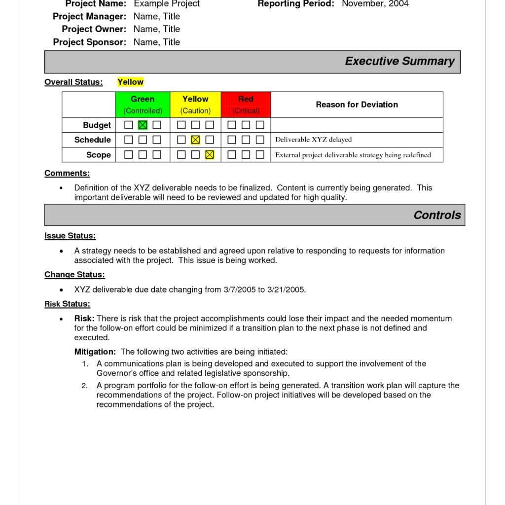 Project Status Report Sample   Pmp   Project Status Report With Incident Summary Report Template