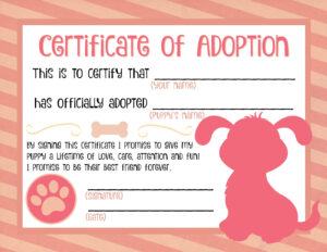Puppy Adoption Certificate … | Party Ideas In 2019… in Pet Adoption Certificate Template