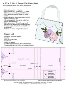 Purse Card Template – Size A2 ( 4.25 X 5.5) | Templates in A2 Card Template