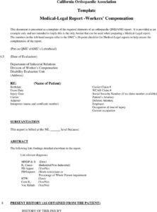 Qme Report Sample Template Medical Legal Workers inside Medical Legal Report Template