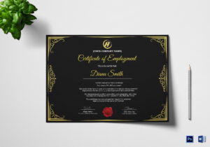 Qualified Employment Certificate Template for Commemorative Certificate Template