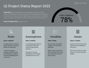 Quarterly Project Status Progress Report Template Template inside It Progress Report Template
