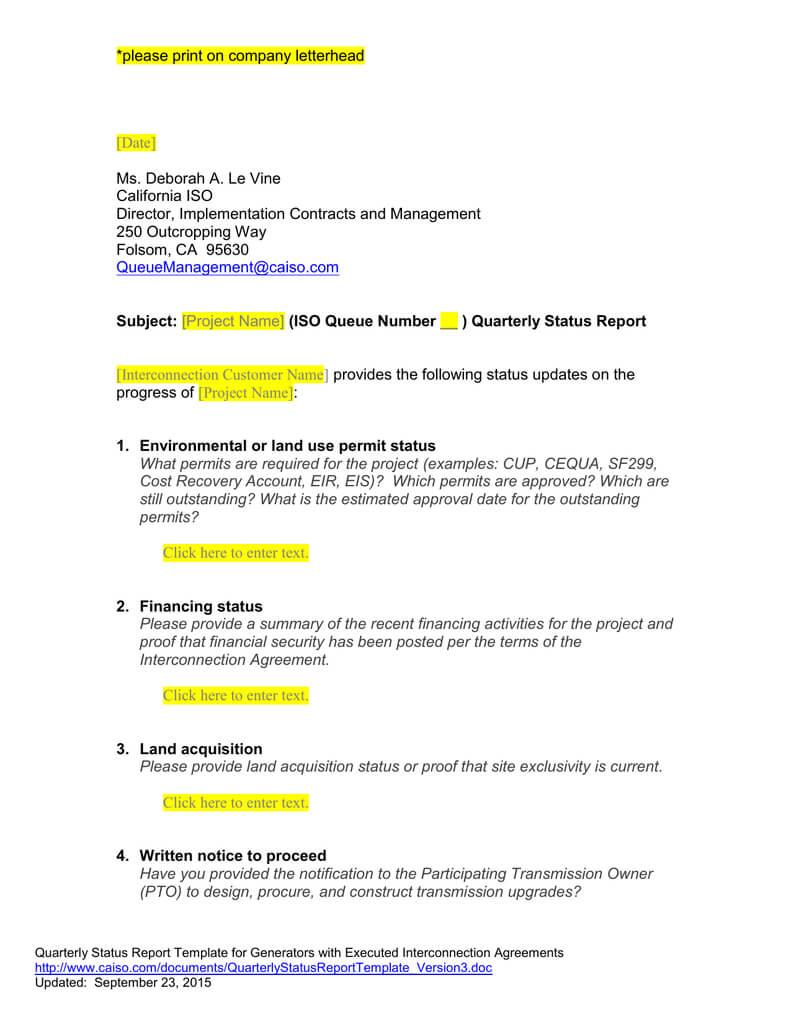 Queue Management Quarterly Status Report Template Inside Implementation Report Template