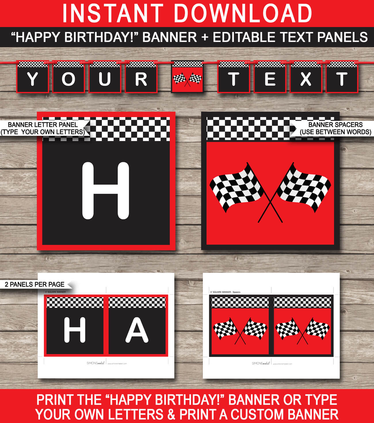 Race Car Party Banner Template – Red With Regard To Cars Birthday Banner Template