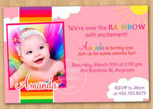Rainbow First Birthday Invitation – Custom Printable. $10.00 within First Birthday Invitation Card Template