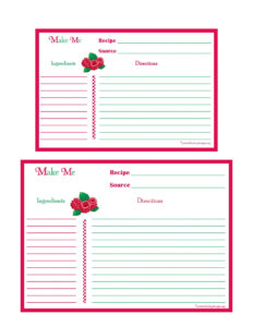 Raspberries Recipe Card – 4X6 & 5X7-Page | Recipe Keepers for 4X6 Photo Card Template Free