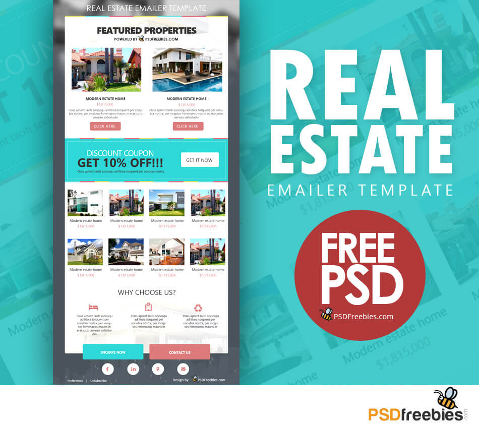 Real Estate E Mailer Template Psd | Psdfreebies Throughout Real Estate Brochure Templates Psd Free Download