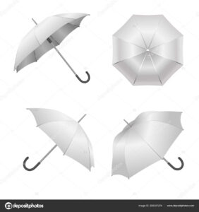 Realistic Detailed 3D White Blank Umbrella Template Mockup within Blank Umbrella Template