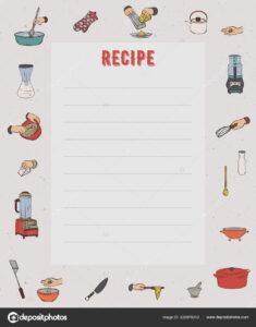 Recipe Card Cookbook Page Design Template Kitchen Utensils for Recipe Card Design Template