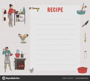 Recipe Card Cookbook Page Design Template People Preparing in Restaurant Recipe Card Template