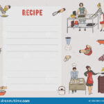 Recipe Card. Cookbook Page. Design Template With People Intended For Recipe Card Design Template