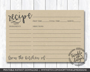Recipe Card Printable, Printable Recipe Card, Diy Recipe intended for 4X6 Photo Card Template Free
