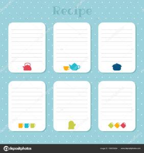 Recipe Cards Set Cooking Card Templates Restaurant Cafe for Restaurant Recipe Card Template