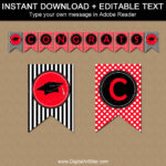 Red And Black High School Graduation Party Decorations, College Graduation  Banner Template, Congratulations Banner, Red Banner Printable G4 In Graduation Banner Template