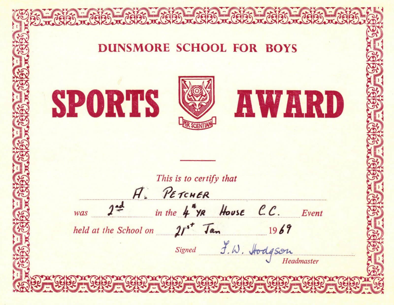 Red Award Sports Certificates Word Pdf For Athletic Certificate Template