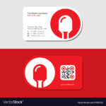 Red Business Card With Led Icon And Qr Code With Qr Code Business Card Template